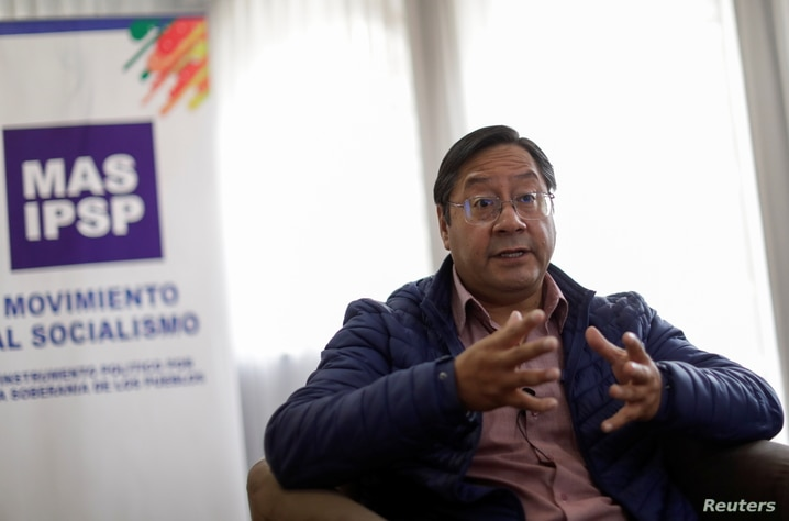 Luis Arce, the presidential candidate of the Movement to Socialism party (MAS), speaks during an interview with Reuters in La…