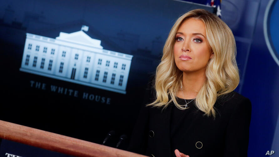 New White House Press Secretary Kayleigh McEnany addresses her first press briefing in the Brady Press Briefing Room at the White House in Washington, U.S., May 1, 2020. REUTERS/Carlos Barria