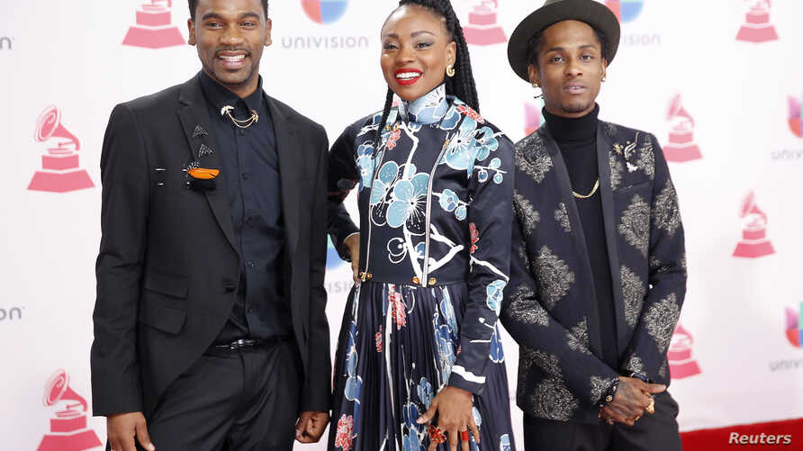 Hip hop group ChocQuibTown arrives at the 17th Annual Latin Grammy Awards in Las Vegas, Nevada, U.S., November 17, 2016.  …