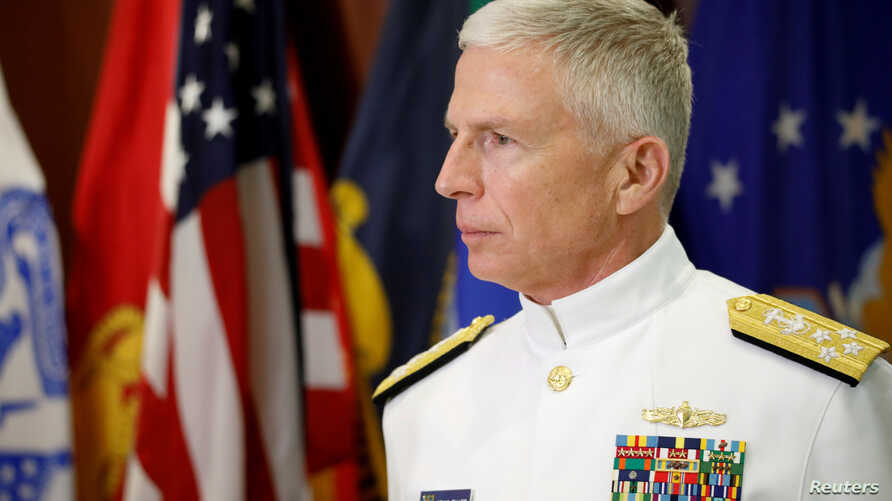 FILE PHOTO: FILE PHOTO: Commander of the U.S. Southern Command Admiral Craig S. Faller pauses as he talks to the media after an…