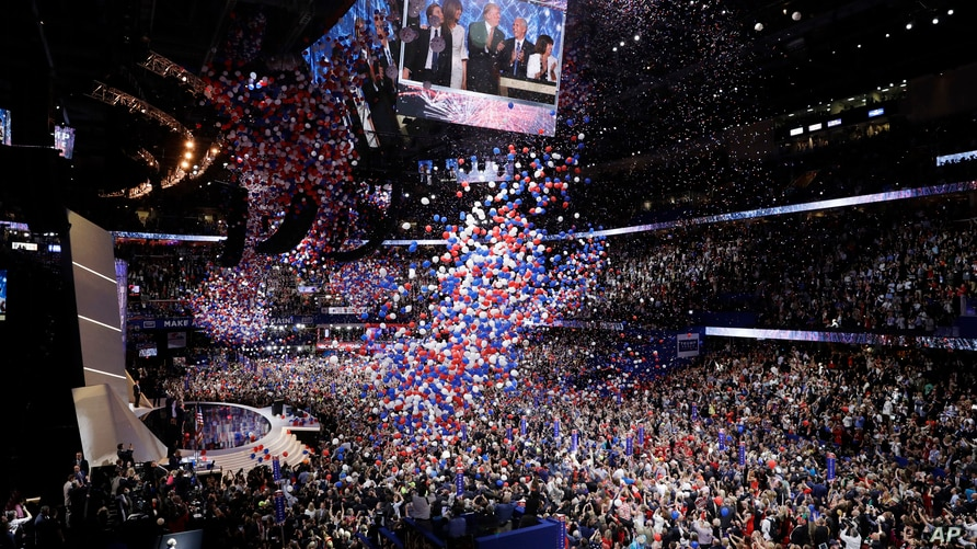 Balloons fall after Republican Presidential Candidate Donald Trump, addresses the delegates during the final day of the…