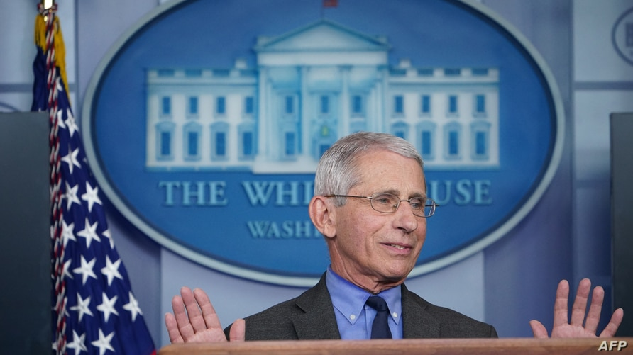 Director of the National Institute of Allergy and Infectious Diseases Anthony Fauci speaks during the daily briefing on the…