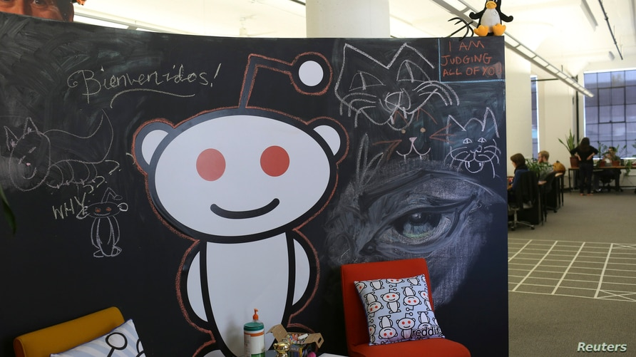 A Reddit mascot is shown at the company's headquarters in San Francisco, California April 15, 2014. Reddit, a website with a…
