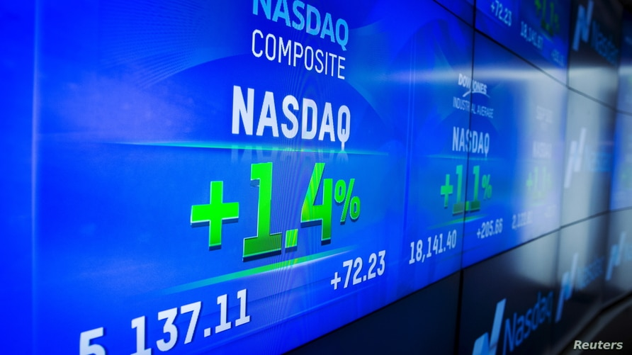 The day's numbers are shown at the Nasdaq MarketSite in New York June 18, 2015. The Nasdaq composite index rose to a new…