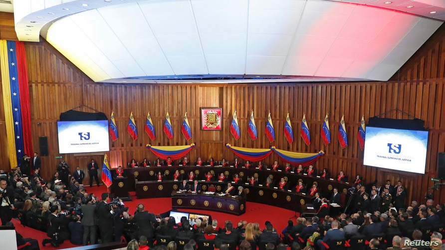 Venezuela's President Nicolas Maduro attends a ceremony to mark the opening of the judicial year at the Supreme Court of…