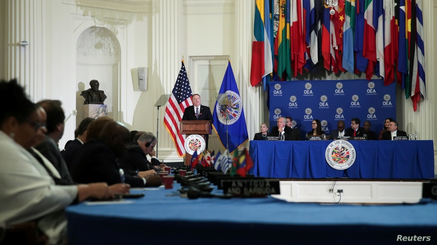 U.S. Secretary of State Mike Pompeo delivers remarks at the Organization of American States in Washington, U.S. January 17,…