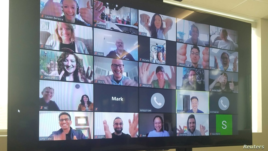 A computer screen shows a video conferencing session at Memphis Meats in Berkeley, California, U.S. in an undated photo.  …