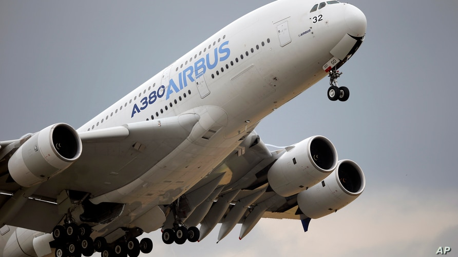FILE - In this June 18, 2015, file photo, an Airbus A380 takes off for its demonstration flight at the Paris Air Show in Le…