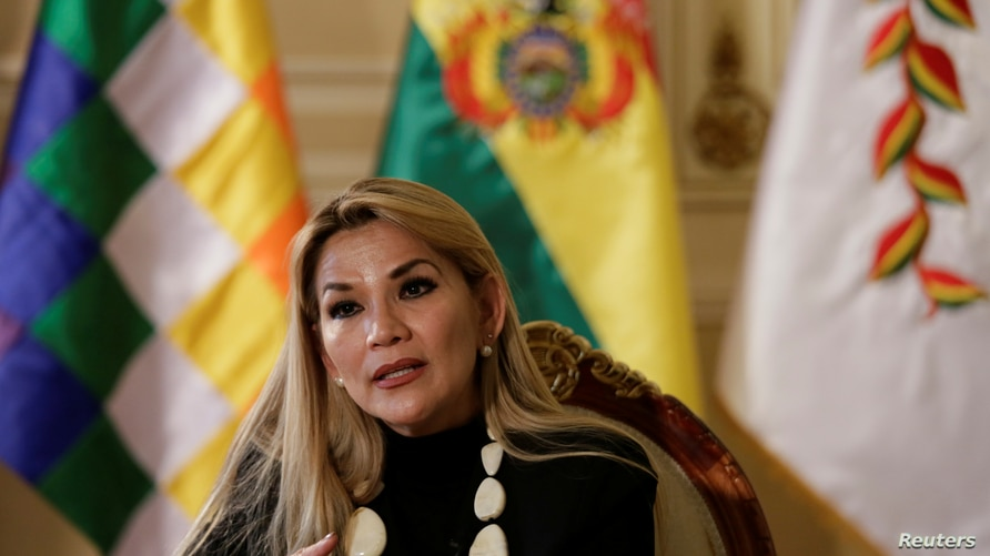 Bolivia's interim President Jeanine Anez speaks during a Reuters interview at the Presidential Palace in La Paz, Bolivia…
