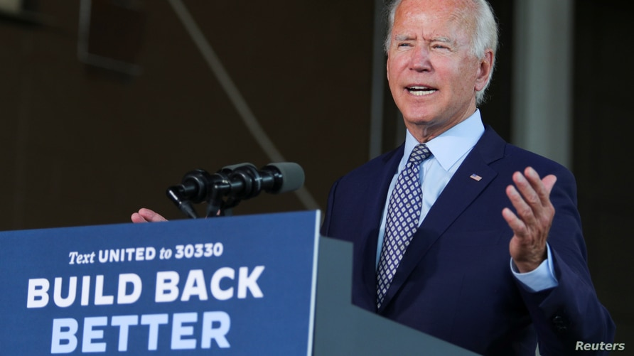 Democratic U.S. presidential candidate and former Vice President Joe Biden speaks about the U.S. economy during a campaign…