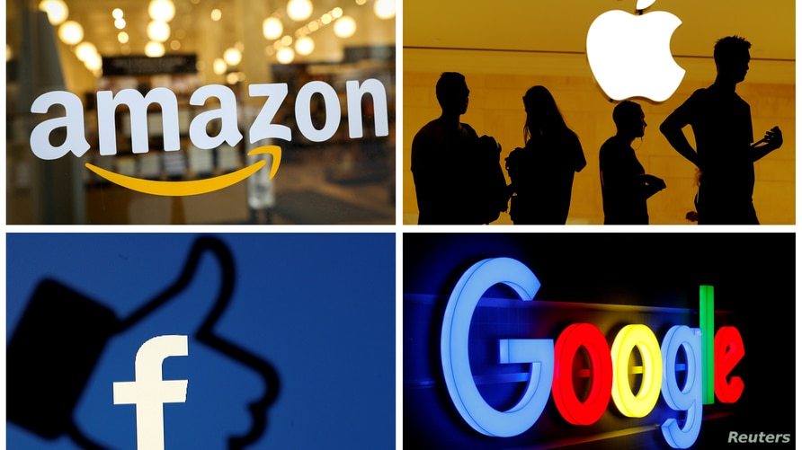 FILE PHOTO: The logos of Amazon, Apple, Facebook and Google are seen in a combination photo from Reuters files.    REUTERS/File…