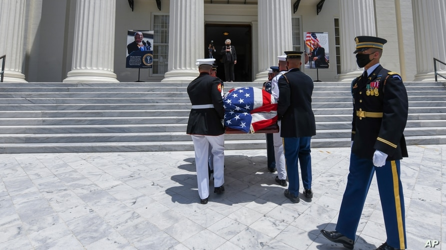 The casket with the body of civil rights icon Congressman John Lewis arrives at the Alabama Capitol, in Montgomery, Alabama.