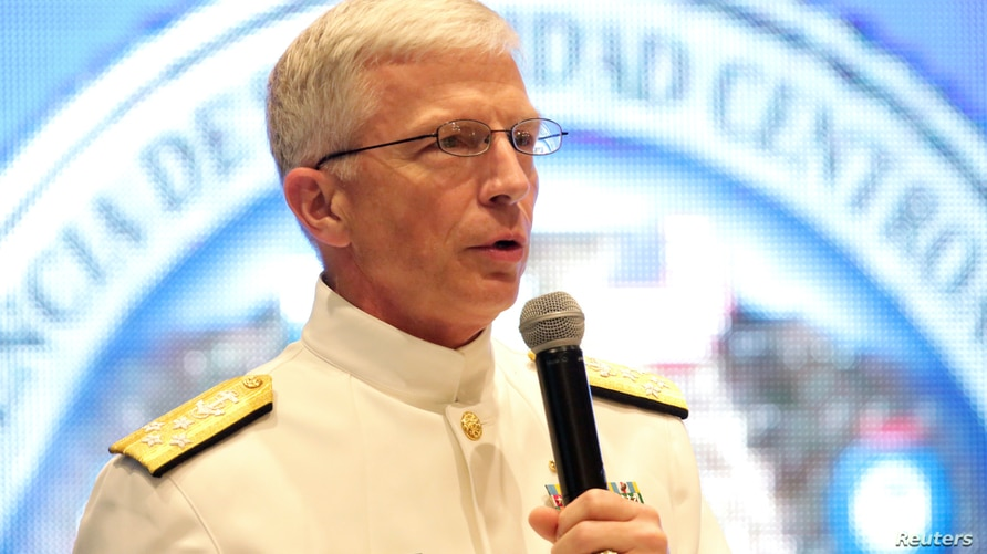 U.S. Navy Admiral Craig Faller, Commander of U.S. Southern Command speaks during a news conference about the Regional Security…