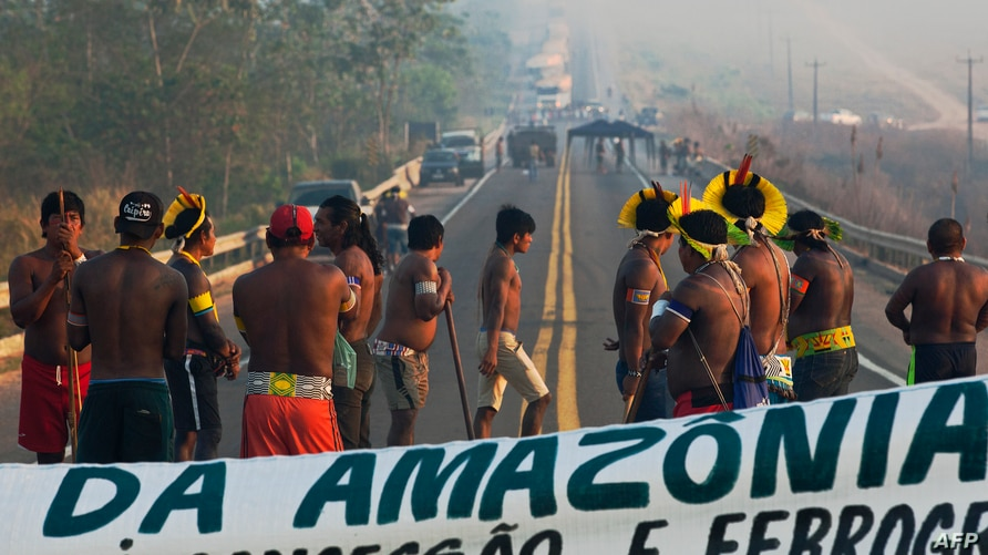 Members of the Kayapo tribe block highway BR163 during a protest on the outskirts of Novo Progresso in Para State, Brazil, on…