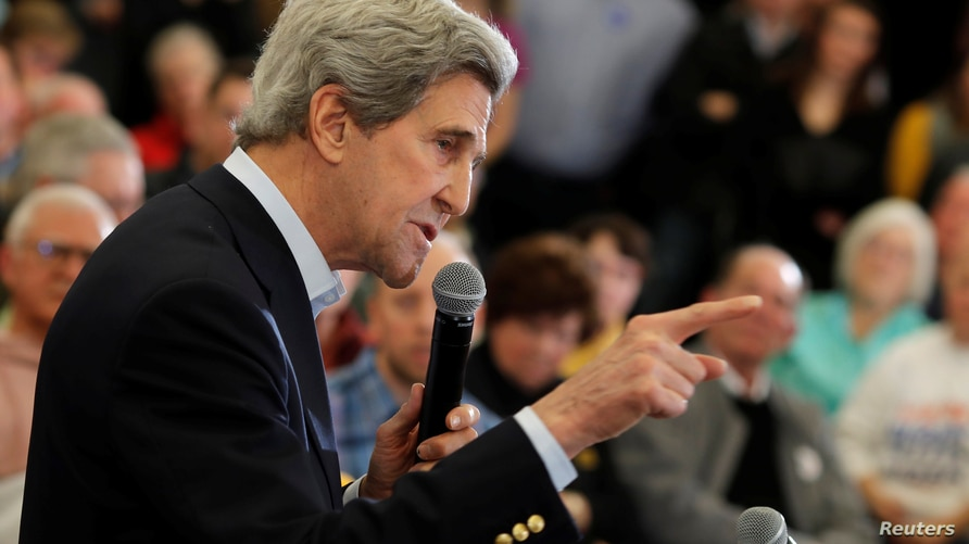 Former Secretary of State John Kerry speaks during a campaign event in support of Democratic 2020 U.S. presidential candidate…