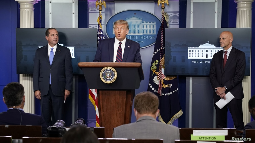 U.S. President Donald Trump holds a news conference about the latest coronavirus disease (COVID-19) developments, in the Brady…