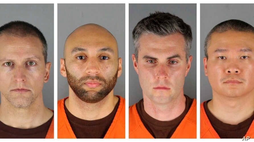 These Hennepin County (Minn.) Sheriff's Office photos show, from left, Derek Chauvin, J. Alexander Kueng, Thomas Lane and Tou Thao. All have been charged in the death of George Floyd.