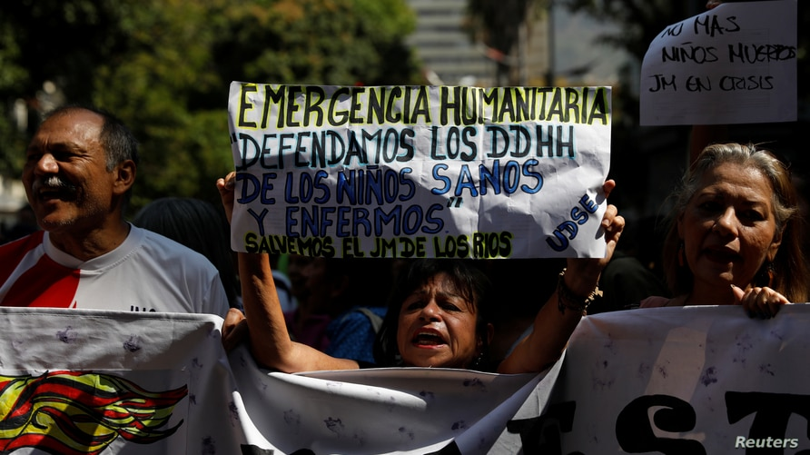 People protest outside the children's hospital?J. M. de los Rios because of lack of medicines, in Caracas, Venezuela March 12,…