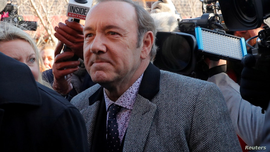FILE PHOTO: Actor Kevin Spacey arrives to face a sexual assault charge at Nantucket District Court in Nantucket, Massachusetts,…