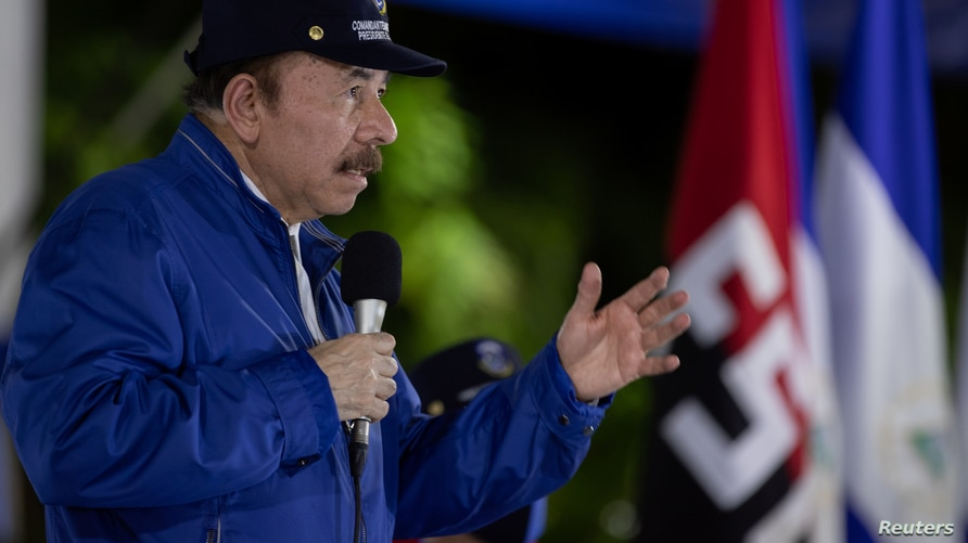 Nicaragua's President Daniel Ortega delivers a speech during a ceremony to mark the 41st anniversary of the Nicaraguan National…