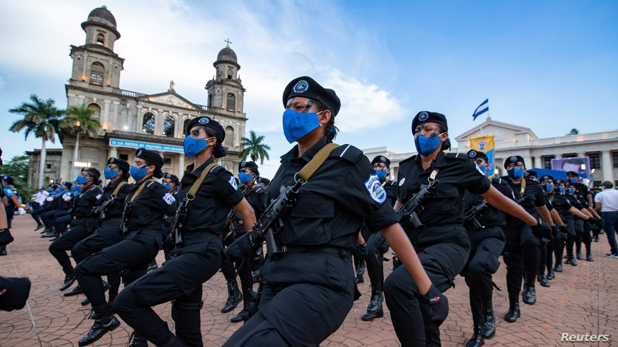 Members of the Nicaraguan National Police attend a ceremony to mark the 41st anniversary of the Nicaraguan National Police, in…