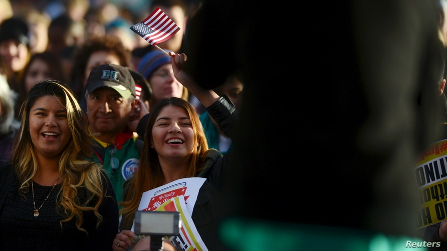 Latino leaders and immigration reform supporters gather at Farrand Field on the campus of the University of Colorado to launch …