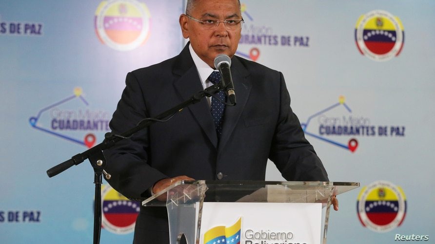 Venezuela's Interior and Justice Minister Nestor Reverol takes part in a broadcast in Caracas, Venezuela March 21, 2019…