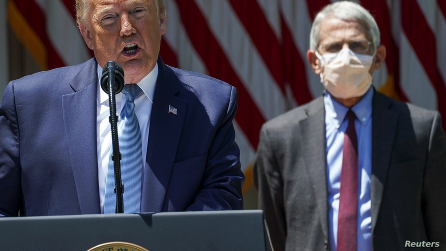 U.S. President Donald Trump speaks about administration efforts to develop a vaccine as National Institute of Allergy and…