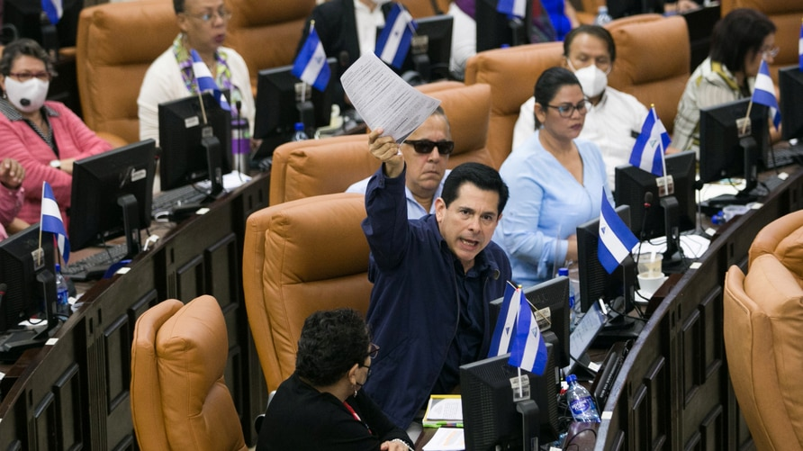 Deputy of the Sandinista National Liberation Front and president of the Economic Commission, Walmaro Gutierrez speaks during a…