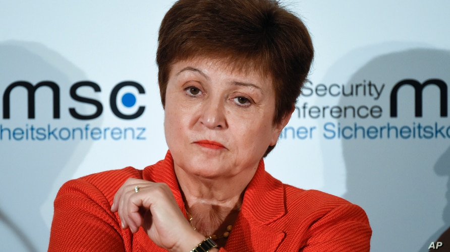 FILE - In this Feb. 14, 2020, file photo, Kristalina Georgieva, Managing Director of the International Monetary Fund, attends a…
