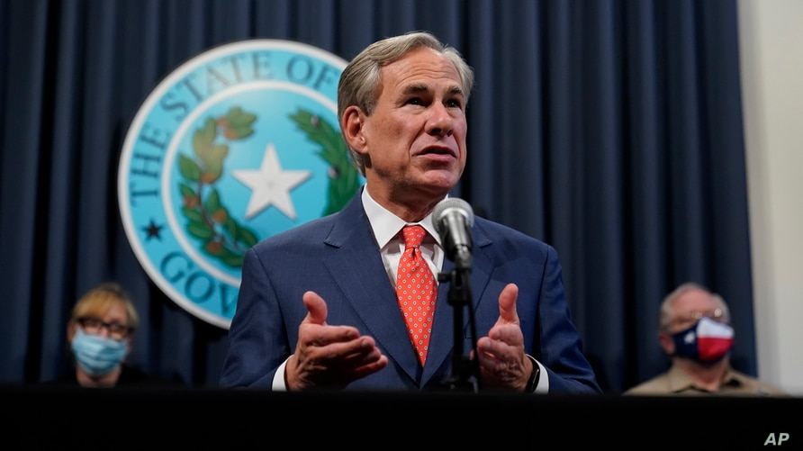 Texas Gov. Greg Abbott speaks during a news conference where he provided an update to Texas' response to COVID-19, Thursday,…