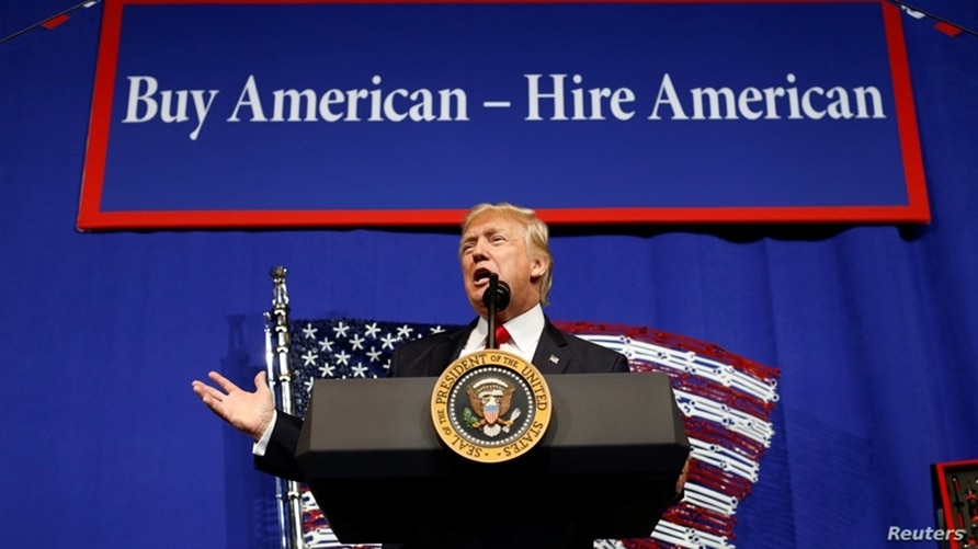 FILE - U.S. President Donald Trump speaks during a visit to the world headquarters of Snap-On Inc, a tool manufacturer in Kenosha, Wisconsin, April 18, 2017.