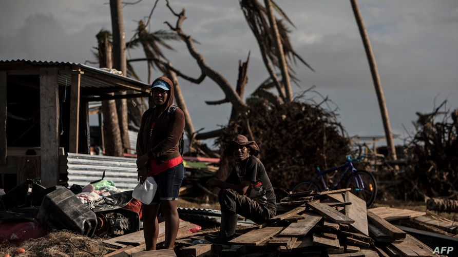 A couple waits for assistance in Haulover, a community 41 km south of Bilwi, in the Northern Caribbean Autonomous Region,…
