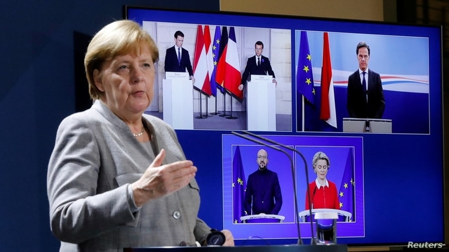 German Chancellor Angela Merkel attends a virtual news conference at the chancellery in Berlin, Germany, Nov. 10, 2020.