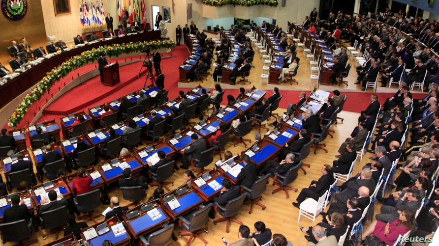 A general view of the Legislative Assembly during the inauguration ceremony of the newly elected President of the assembly…