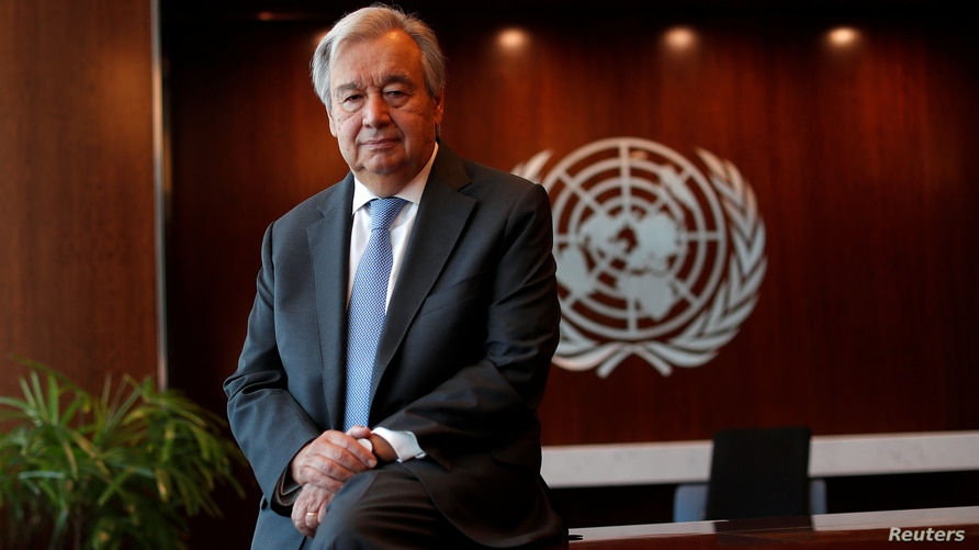 United Nations Secretary-General Antonio Guterres poses for a photograph during an interview with Reuters at U.N. headquarters…