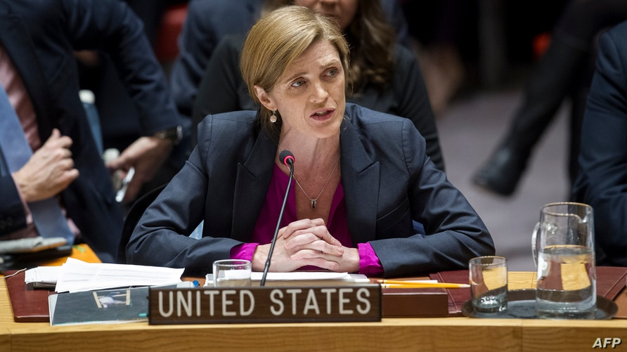 In this image released by the UN, Samantha Power, US Permanent Representative to the UN, addresses the Council after the…