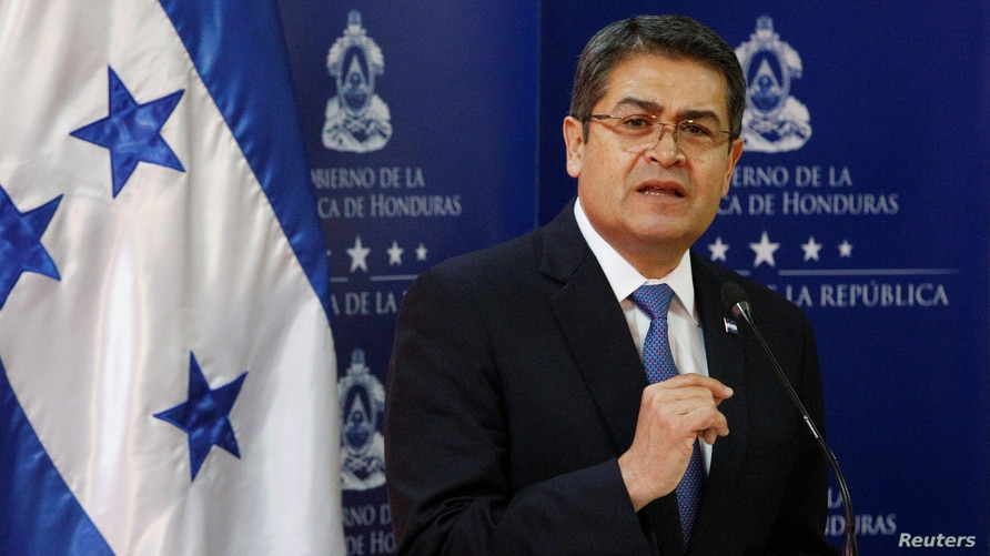 Honduras' President Juan Orlando Hernandez delivers a joint message with U.S. Ambassador to the United Nations Nikki Haley at…