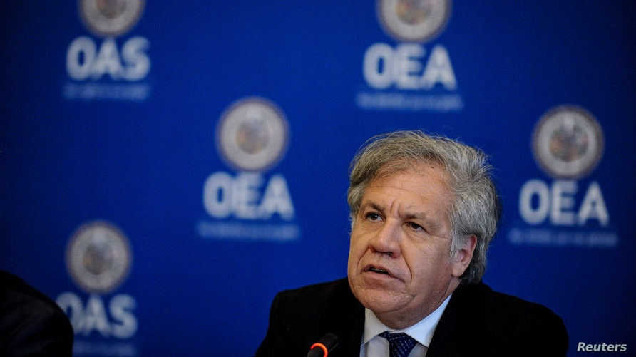 OAS General Secretary Luis Almagro participates in the Organization of American States (OAS) news conference with a panel of…