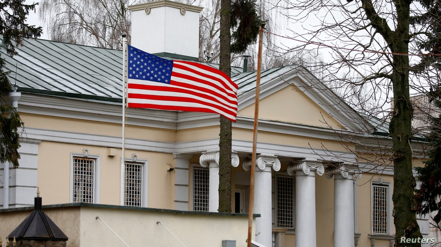 A flag flies at the embassy of the United States in Minsk, Belarus January 24, 2020.  Picture taken January 24, 2020.  REUTERS…