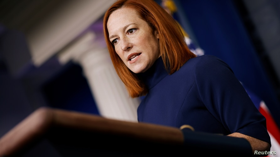 White House Press Secretary Jen Psaki delivers remarks during a press briefing at the White House in Washington, U.S., February…