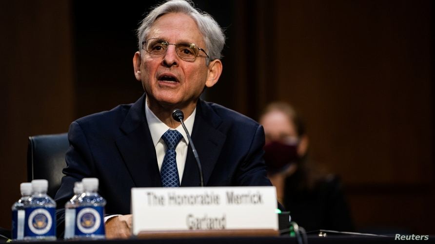 Nominee for U.S. Attorney General, Merrick Garland, during his swearing in confirmation hearing before the Senate Judiciary…