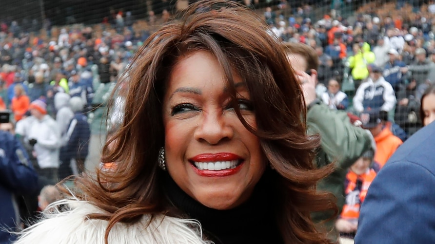 FILE - In this April 4, 2019, file photo, Mary Wilson, a former member of The Supremes, is escorted after singing the national…