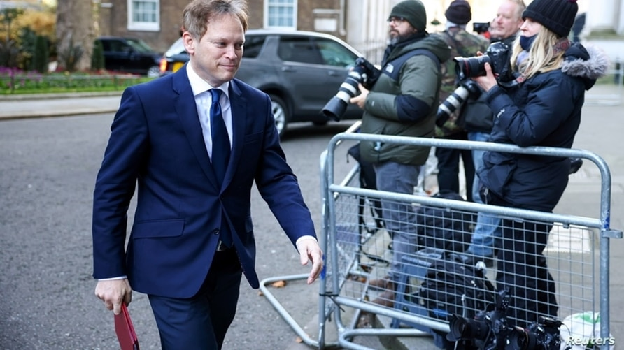 Britain's Transport Secretary Grant Shapps arrives to attend a Cabinet meeting at the Foreign and Commonwealth Office (FCO) in London.