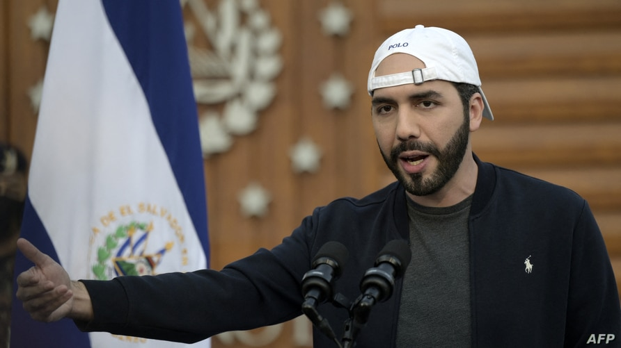 Salvadoran President Nayib Bukele delivers a speech on the first day of inoculation with the Oxford/AstraZeneca vaccine against…