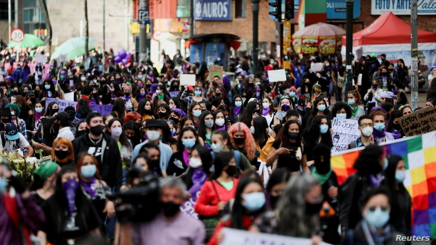 People participate in a rally during International Women's Day celebrations in Bogota, Colombia March 8, 2021. REUTERS/Luisa…