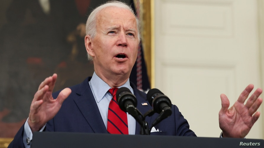 U.S. President Joe Biden speaks about the mass shooting in Colorado from the State Dining Room at the White House in Washington…