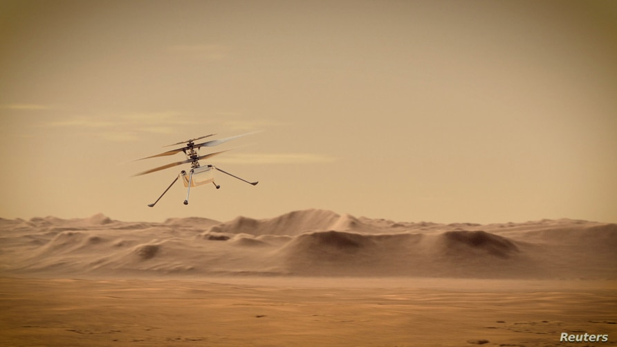 Ingenuity Mars Helicopter flies over Mars in an undated illustration provided by Jet Propulsion Laboratory in Pasadena,…