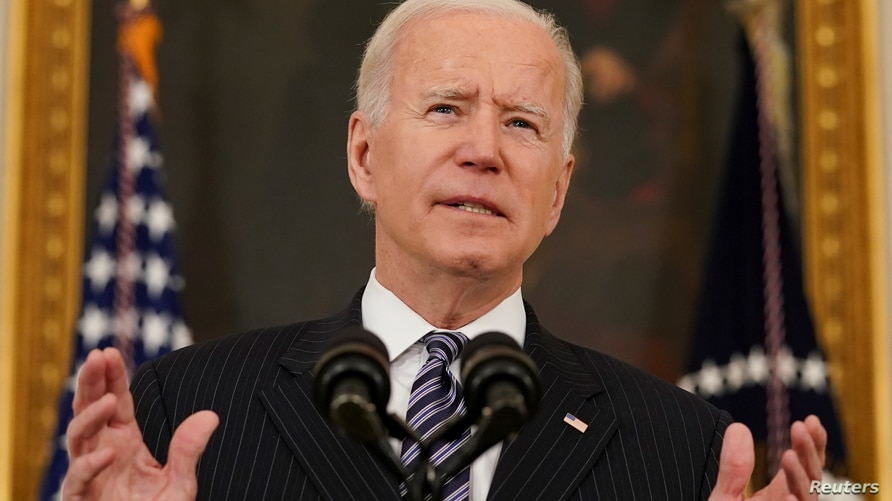 U.S. President Joe Biden delivers remarks on the state of the coronavirus disease (COVID-19) vaccinations from the State Dining…