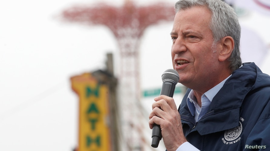New York City Mayor Bill de Blasio speaks during an opening ceremony on the first day of the Coney Island parks reopening,…